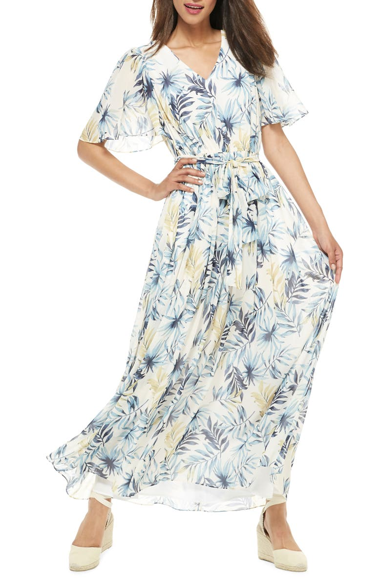 GAL MEETS GLAM COLLECTION Kiki Leaf Print Chiffon Maxi Dress, Main, color, 422