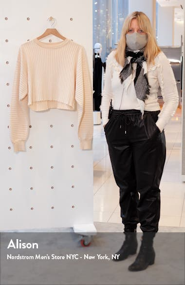Oversize Crop Ribbed French Terry Sweatshirt, sales video thumbnail