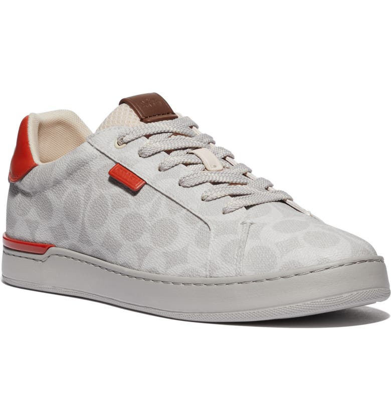 COACH Lowline Signature Sneaker, Main, color, CHALK/ MANGO