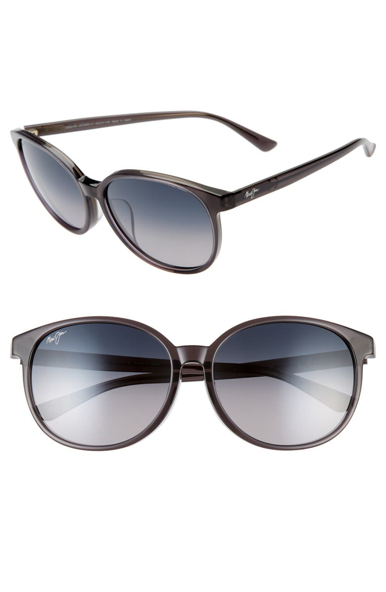 MAUI JIM Water Lily 62mm PolarizedPlus2<sup>®</sup> Round Sunglasses, Main, color, TRANSLUCENT GREY/ NEUTRAL GREY