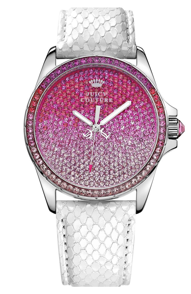 JUICY COUTURE 'Stella' Crystal Embellished Watch, 40mm, Main, color, WHITE/ PINK