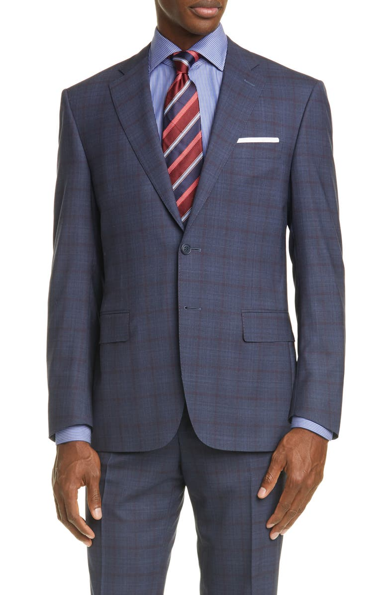 CANALI Siena Soft Classic Fit Windowpane Wool Suit, Main, color, 020