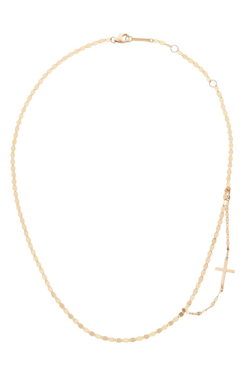 LANA JEWELRY Double Strand Side Cross Necklace, Main, color, 710
