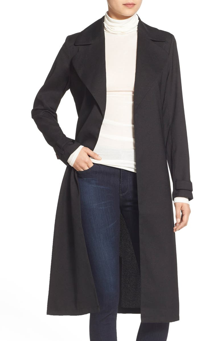 CHELSEA28 Belted Crepe Trench Coat, Main, color, 001