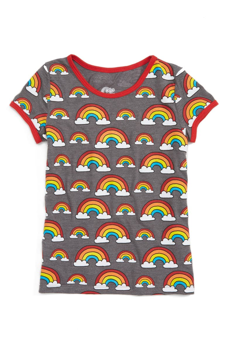 MIGHTY FINE Rainbow Ringer Tee, Main, color, HEATHER CHARCOAL/ RED