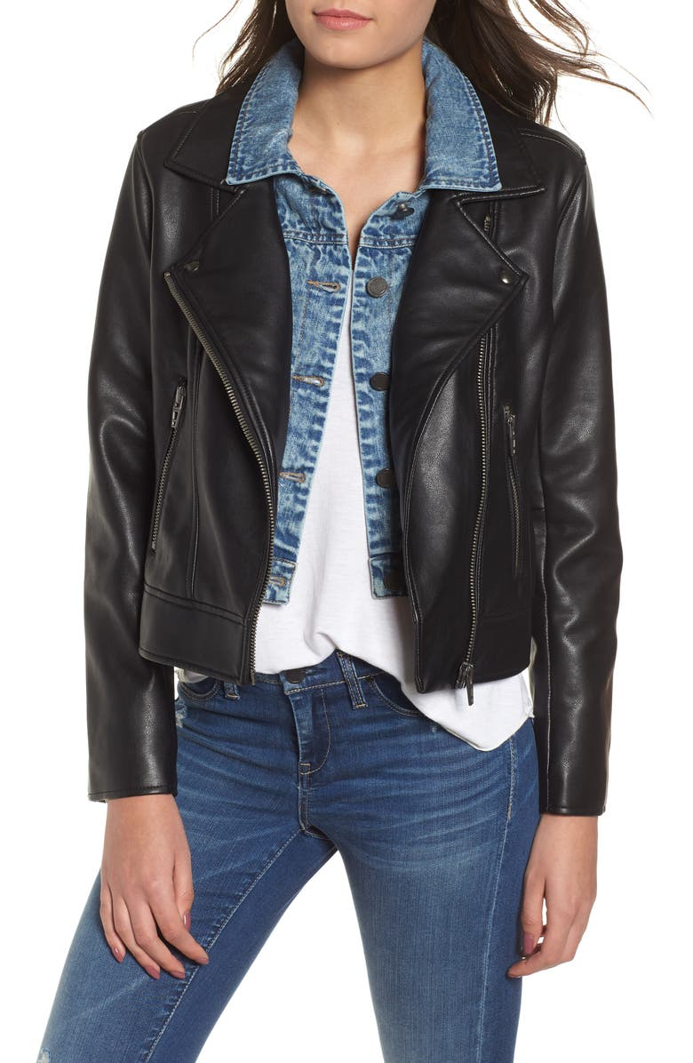 BLANKNYC The Cool Kid Faux Leather Moto Jacket, Main, color, THE COOL KID