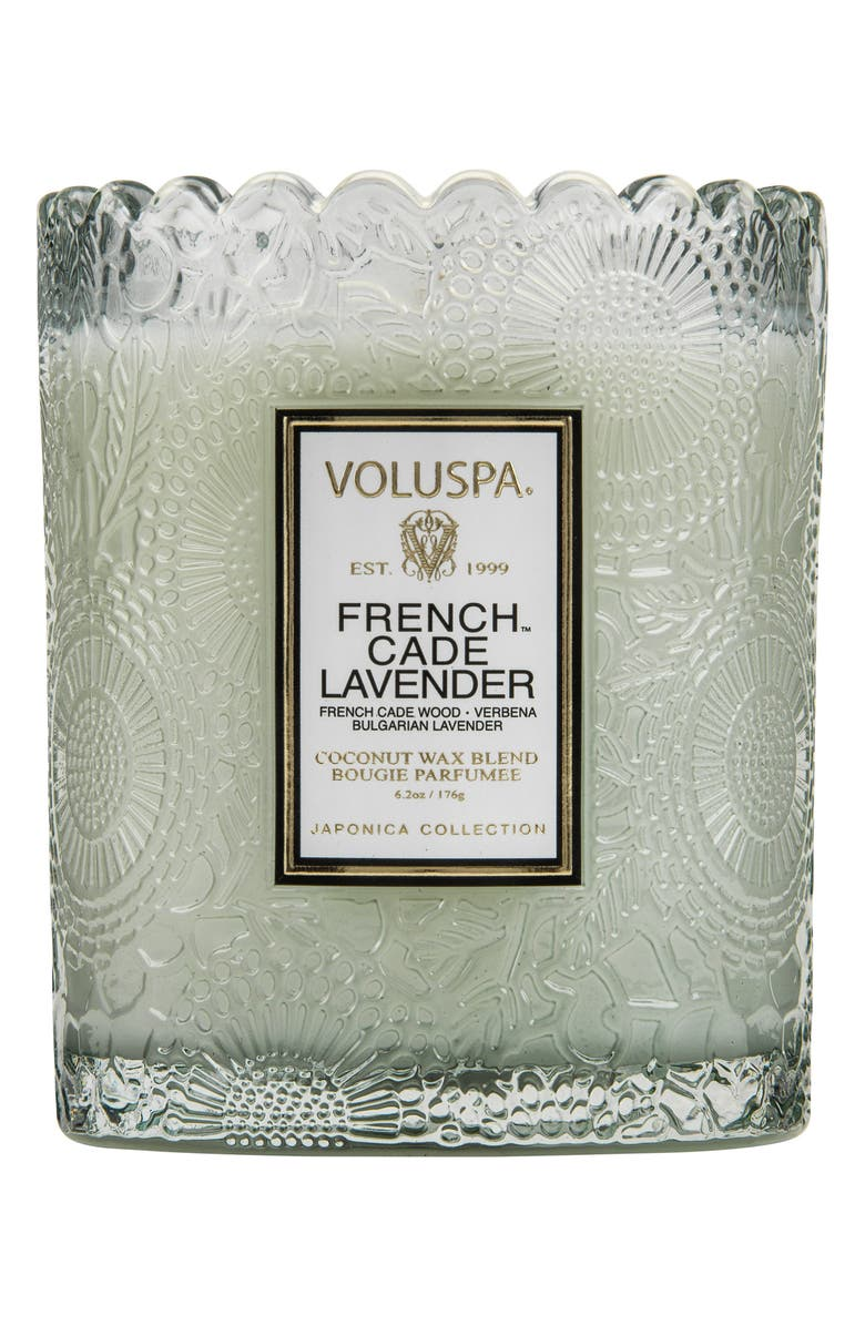 VOLUSPA Japonica French Cade Lavender Scalloped Edge Embossed Glass Candle, Main, color, 000