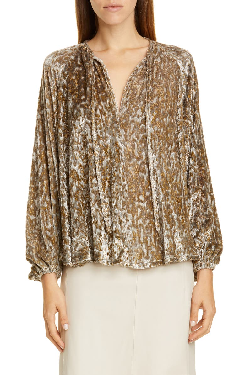CO Embroidered Velvet Balloon Sleeve Top, Main, color, 710