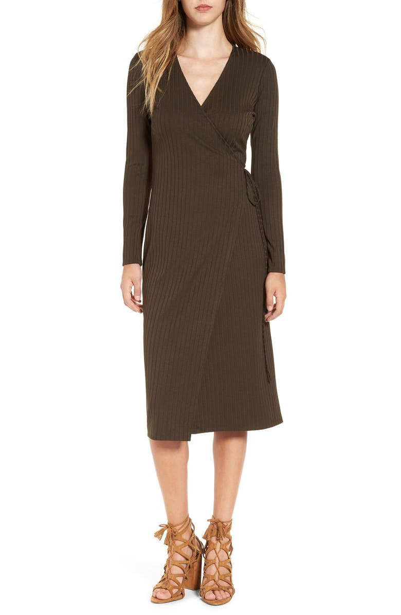 ASTR THE LABEL ASTR Rib Knit Wrap Dress, Main, color, 302