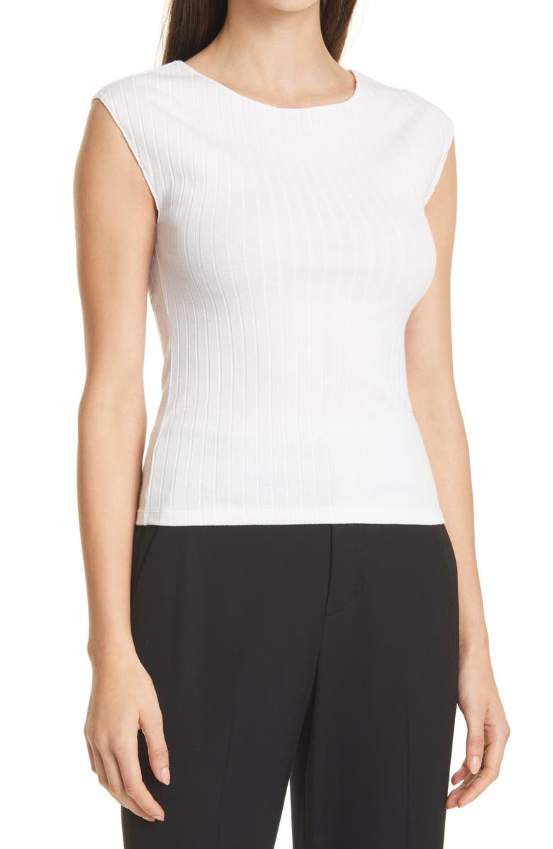 VINCE Camuto Cap Sleeve Boat Neck Ribbed Top, Main, color, 137