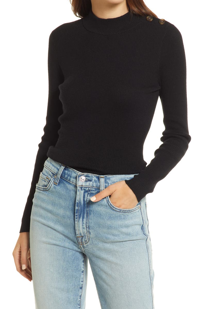 MADEWELL Women's Hollyridge Ribbed Button Shoulder Sweater, Main, color, TRUE BLACK