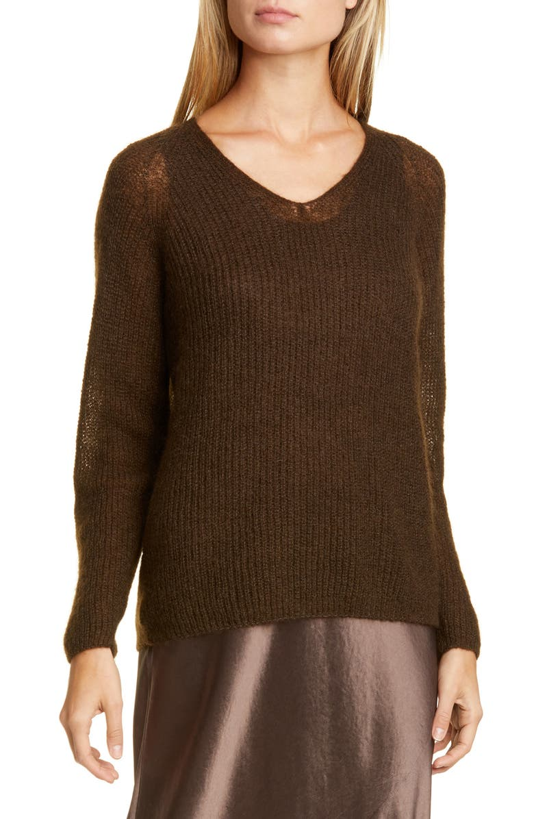 MAX MARA LEISURE Mohair & Wool Blend V-Neck Sweater, Main, color, 200
