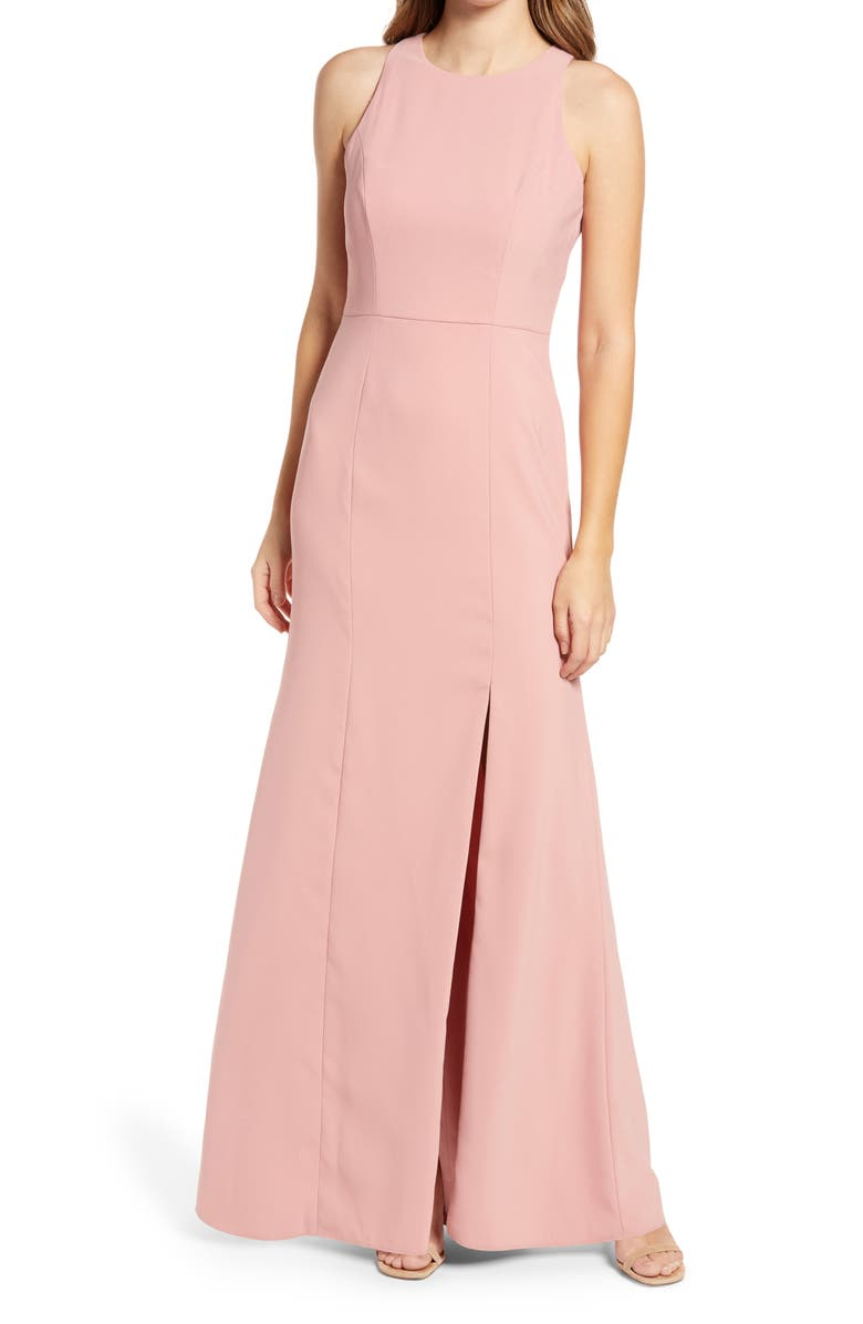 DESSY COLLECTION Crepe Column Gown, Main, color, DESERT ROSE