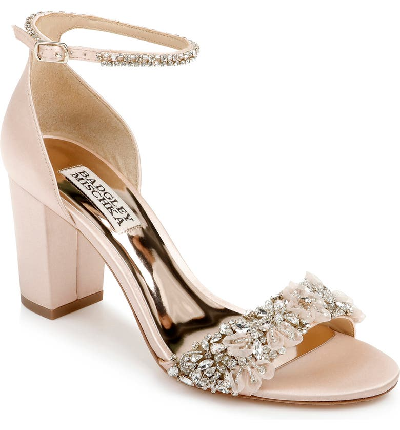 BADGLEY MISCHKA COLLECTION Finesse Ankle Strap Sandal, Main, color, SEASHELL SATIN