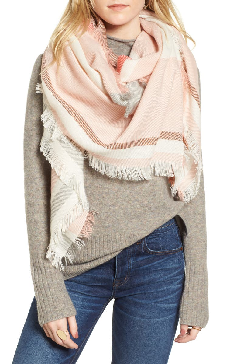 MADEWELL Colorblock Blanket Scarf, Main, color, 100