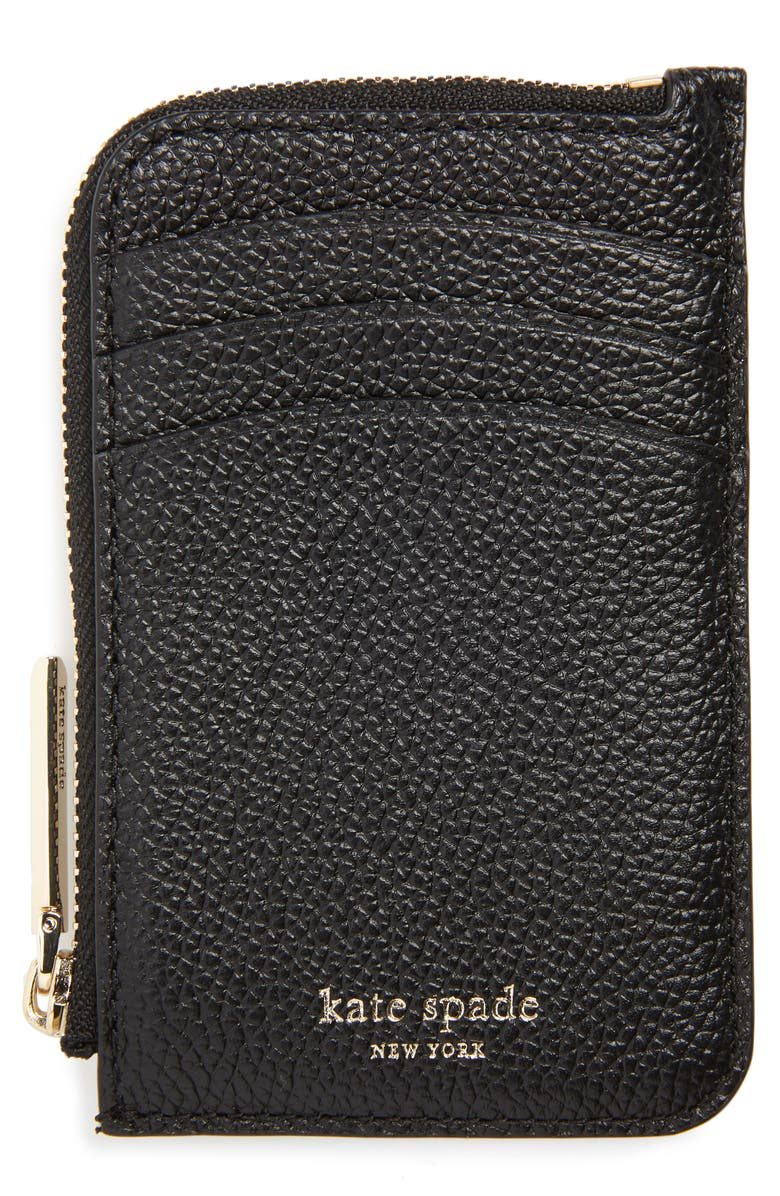 KATE SPADE NEW YORK margaux leather zip card holder, Main, color, 001