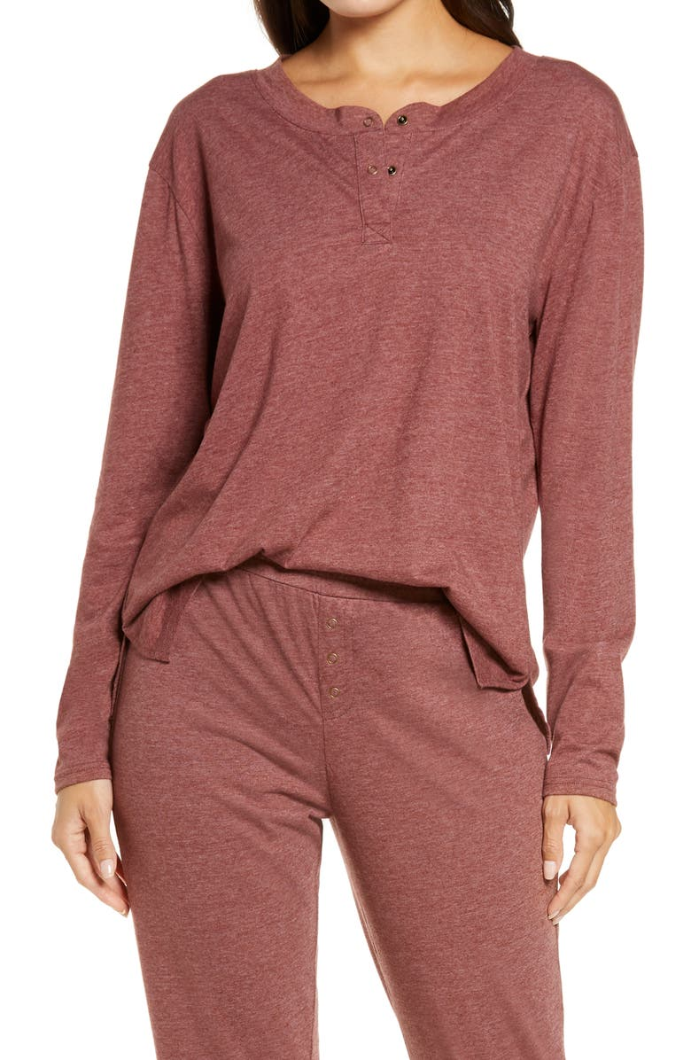 BP. Women's Henley Top, Main, color, BURGUNDY PORT