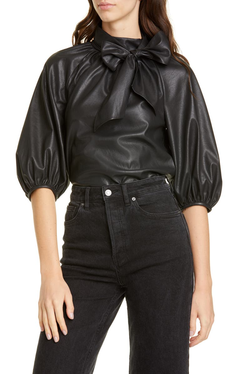 REBECCA TAYLOR Tie Neck Faux Leather Top, Main, color, 001