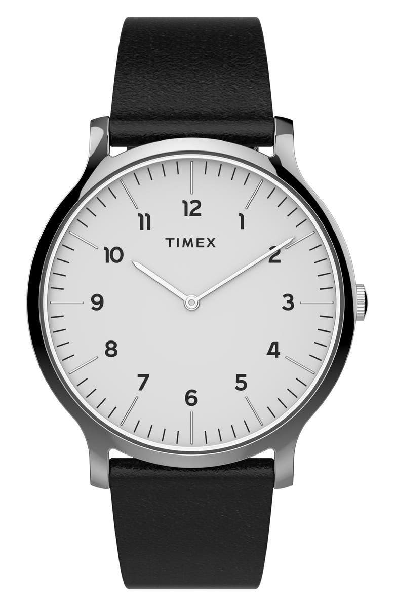 TIMEX<SUP>®</SUP> Norway Leather Strap Watch, 40mm, Main, color, BLACK/ WHITE/ SILVER