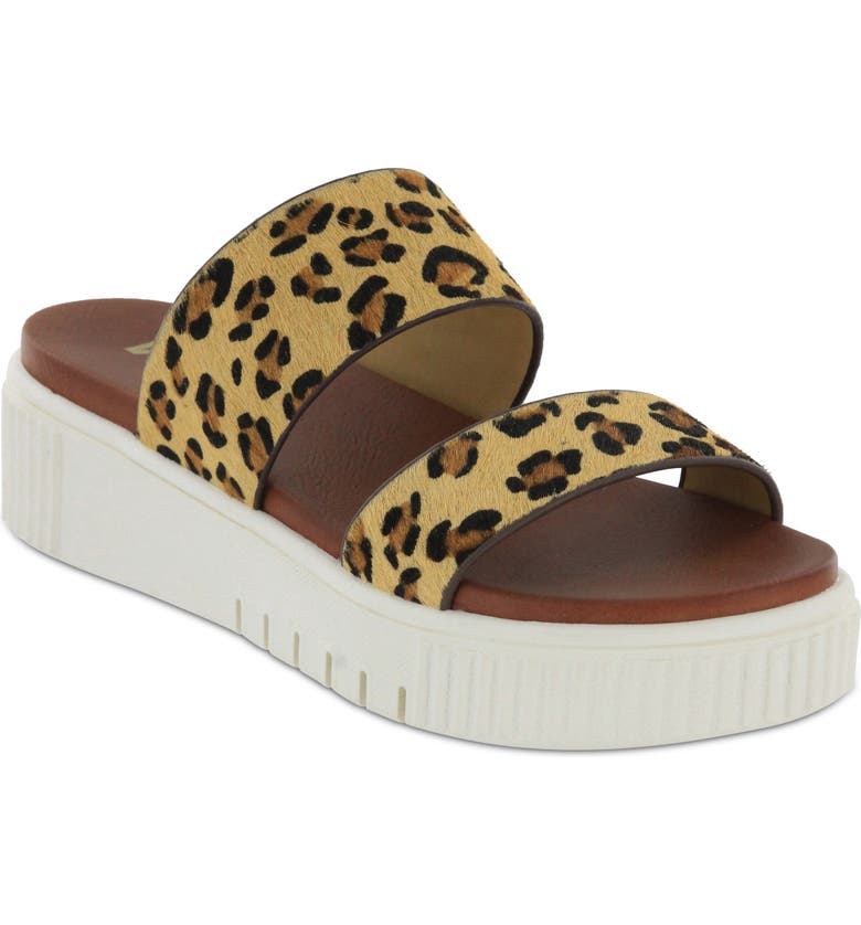 MIA Jordi Platform Genuine Calf Hair Slide Sandal, Main, color, LEOPARD PRINT CALF HAIR