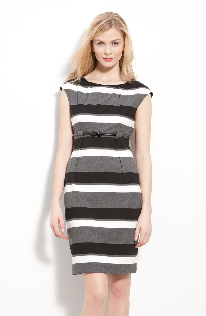 CALVIN KLEIN Belted Ponte Knit Sheath Dress, Main, color, CHARCOAL