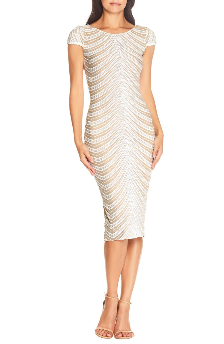 DRESS THE POPULATION Marcella Sequin Stripe Cocktail Sheath Dress, Main, color, OFF WHITE
