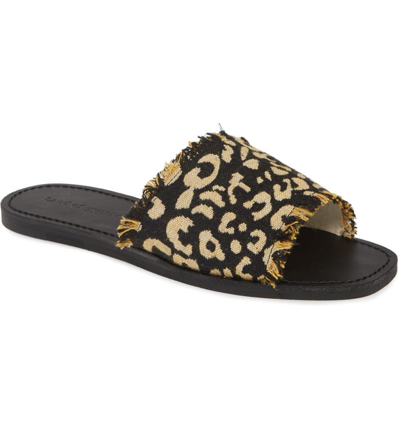 BAND OF GYPSIES Marina Slide Sandal, Main, color, BLACK LEOPARD PRINT CANVAS