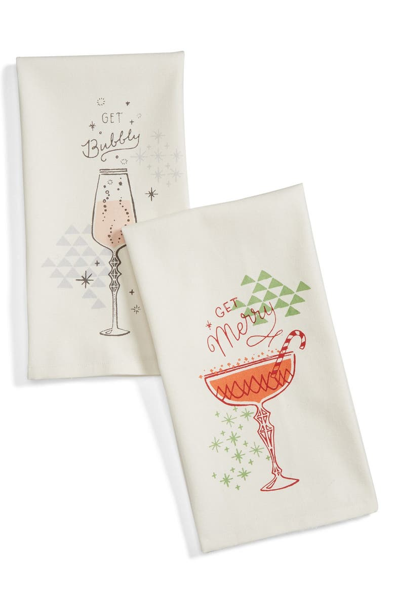 NORDSTROM at Home Get Bubbly Set of 2 Dish Towels, Main, color, IVORY VANILLA MULTI