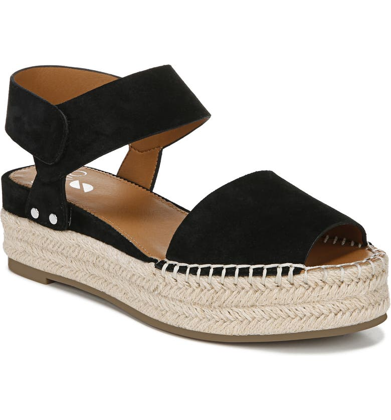SARTO BY FRANCO SARTO Oak Platform Wedge Espadrille, Main, color, BLACK/ BLACK SUEDE