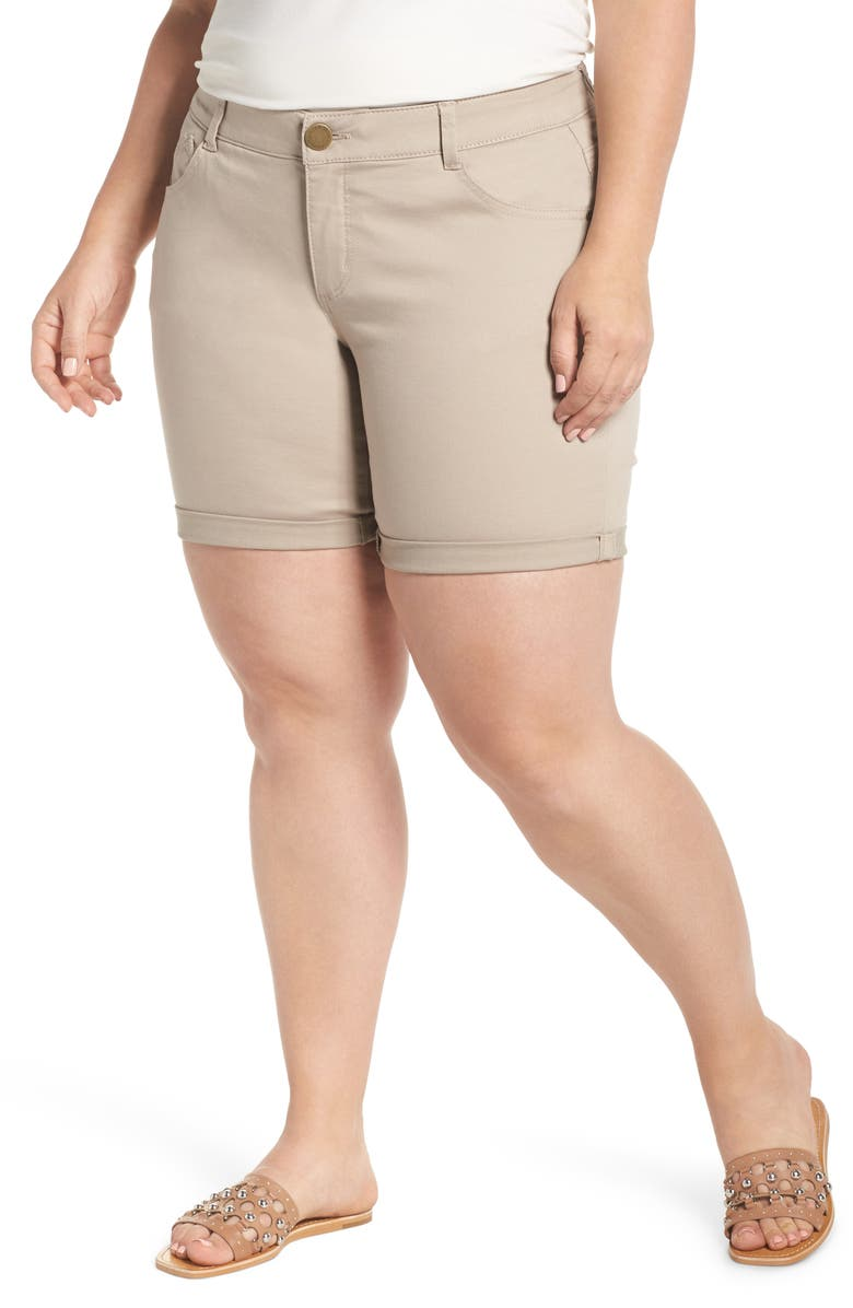 WIT & WISDOM Ab-solution Stretch Cotton Shorts, Main, color, FLAX