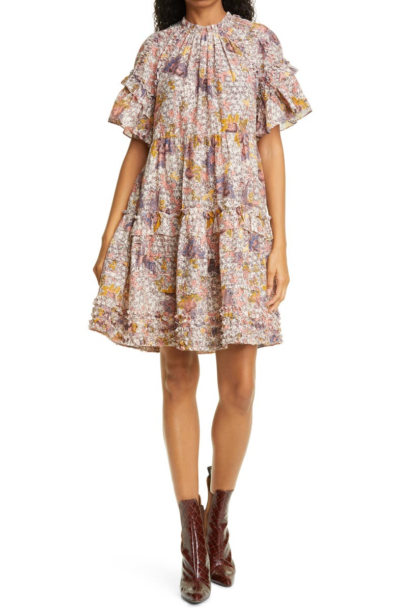 ULLA JOHNSON Delia Tiered Dress, Main, color, IVORY