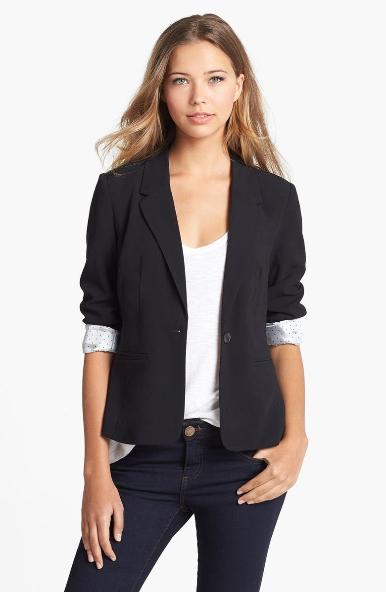 KENSIE Stretch Crepe Blazer, Main, color, 001
