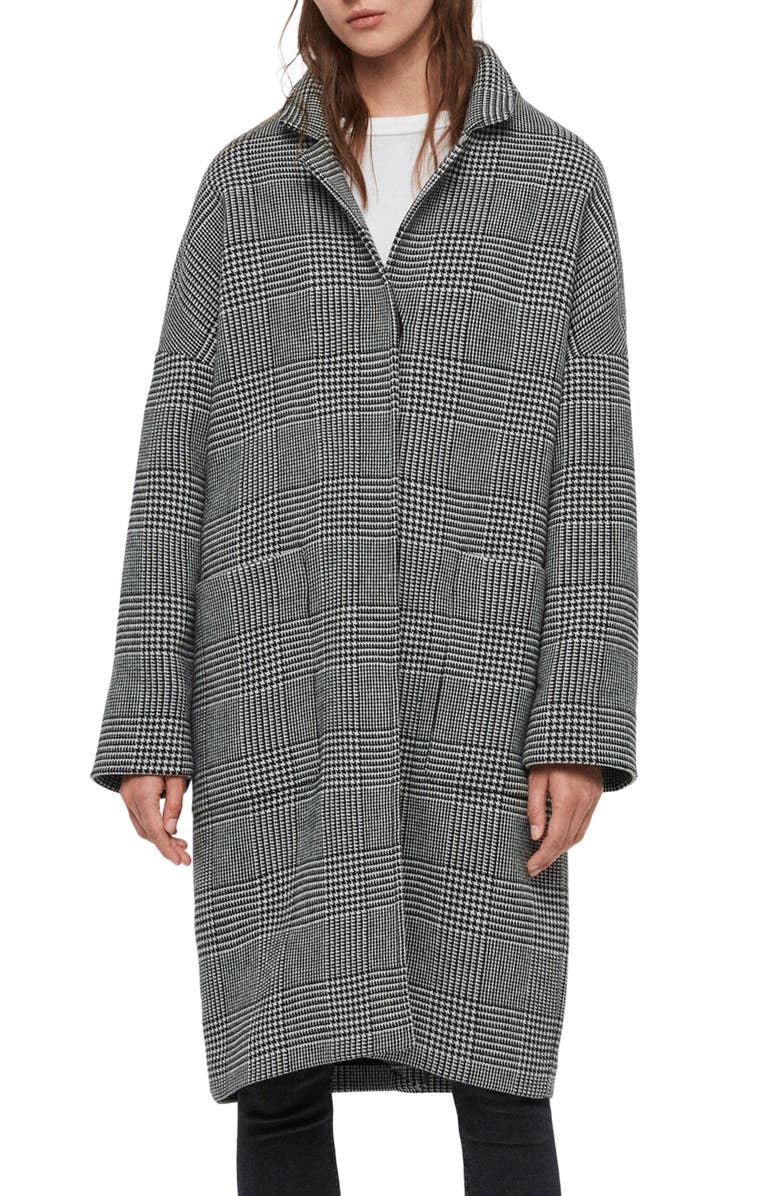 ALLSAINTS Teya Check Coat, Main, color, 020