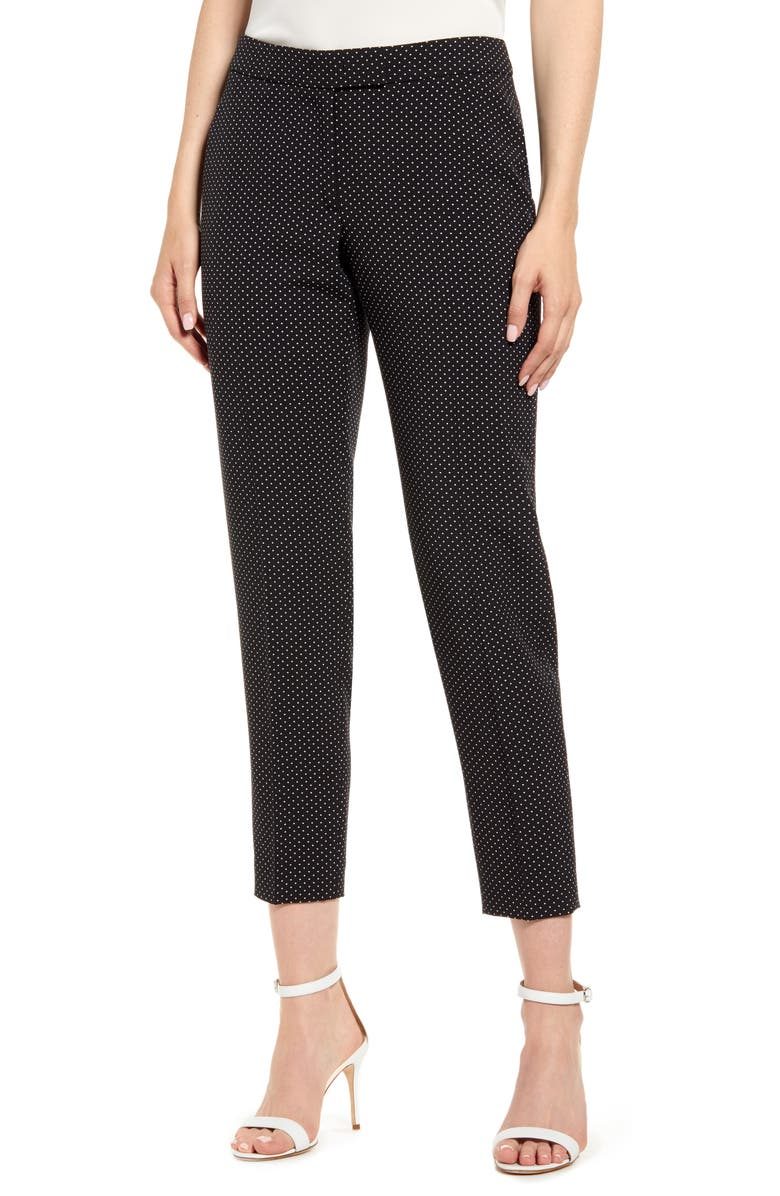 ANNE KLEIN Microdot Crepe Ankle Pants, Main, color, 001
