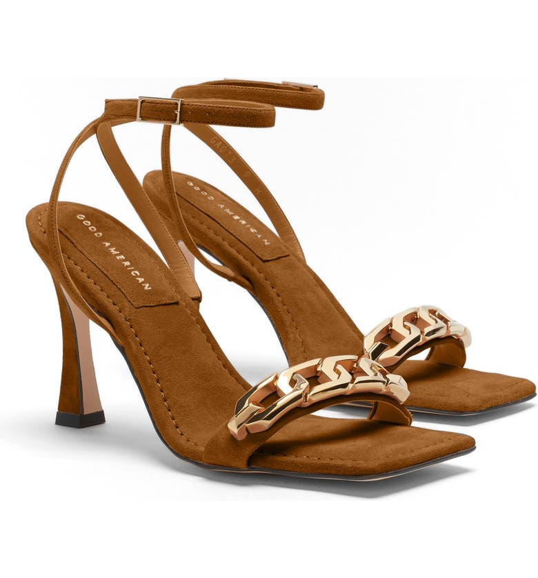 GOOD AMERICAN Ankle Strap Sandal, Main, color, AMBER