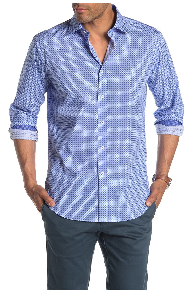 BUGATCHI Long Sleeve Shaped Fit Printed Shirt, Main, color, CLASSIC BLUE
