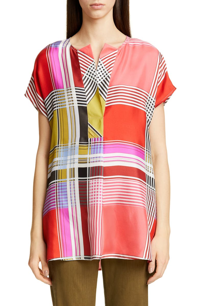 ST. JOHN COLLECTION Madras Plaid Silk Twill Blouse, Main, color, 650