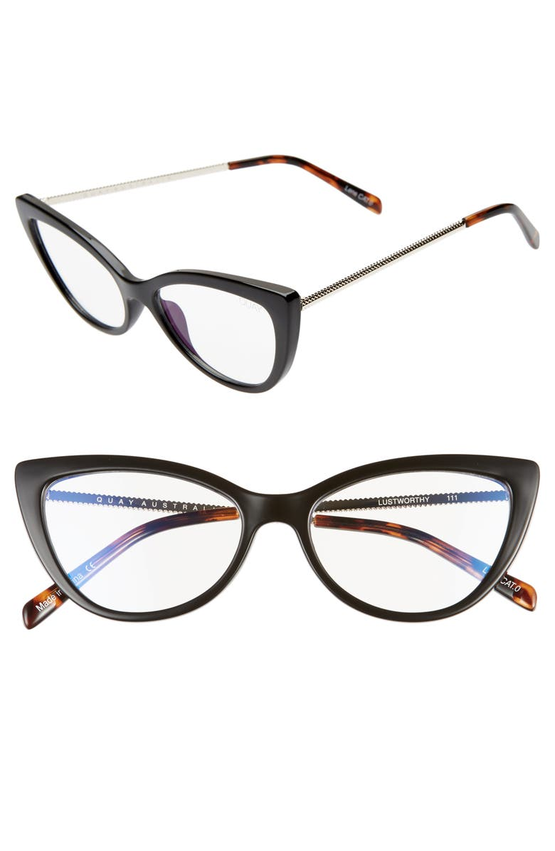 QUAY AUSTRALIA Lustworthy 55mm Blue Light Filtering Cat Eye Glasses, Main, color, 001