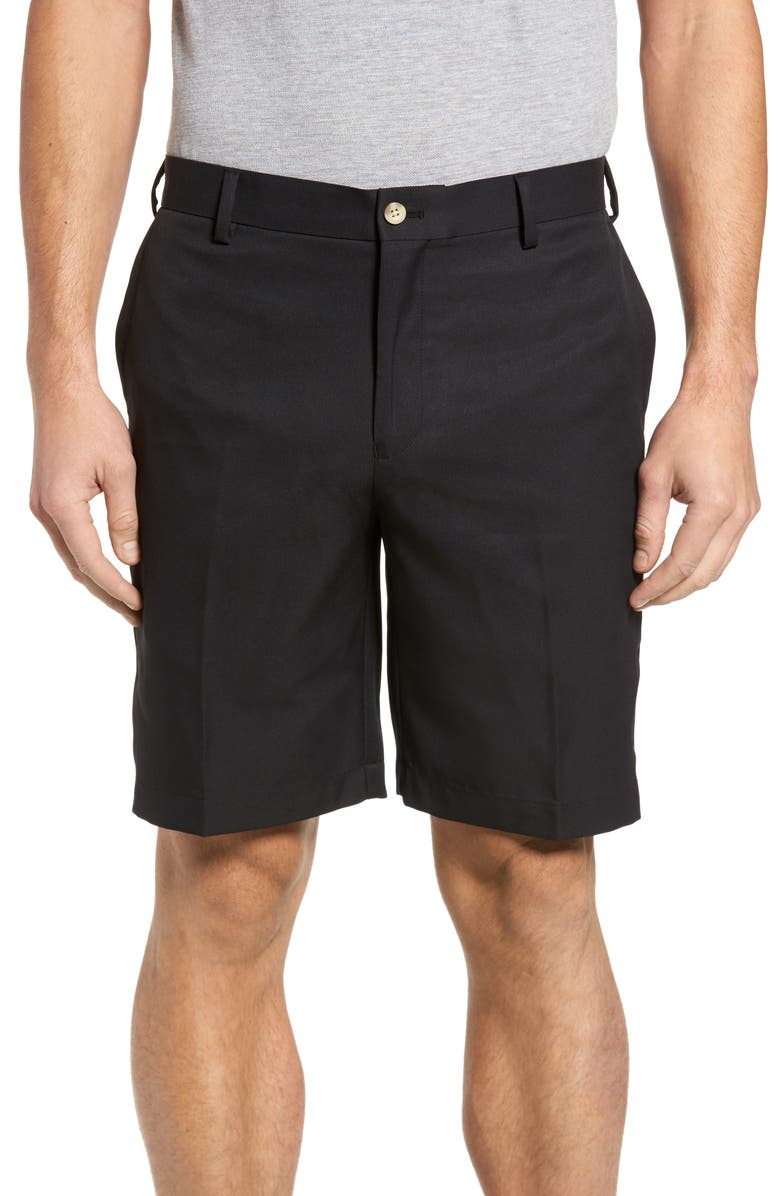 PETER MILLAR Salem Flat Front Performance Shorts, Main, color, 001