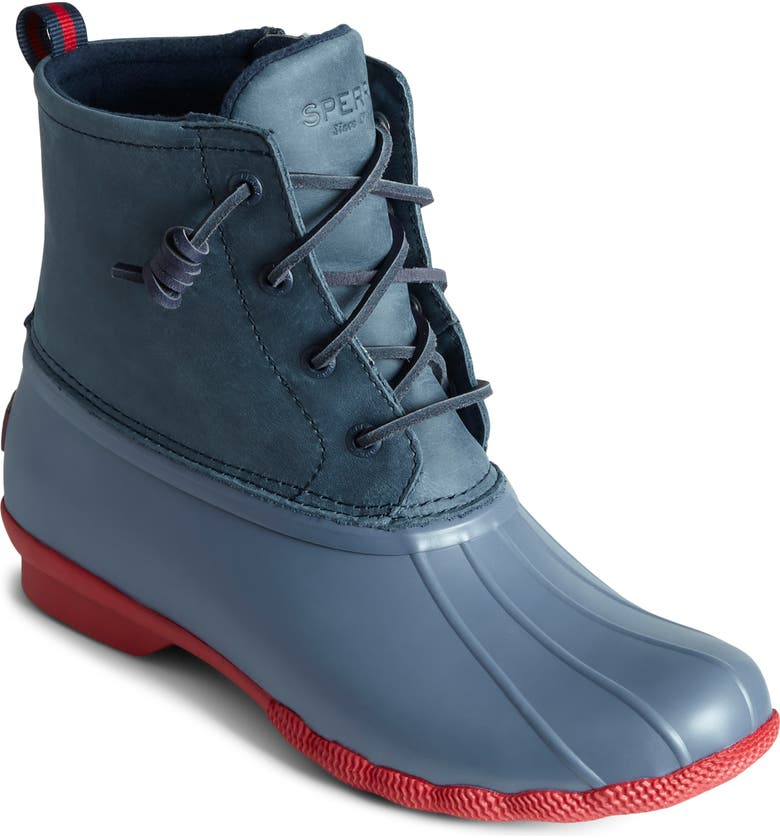 SPERRY Saltwater Waterproof Rain Boot, Main, color, NAVY/ RED LEATHER