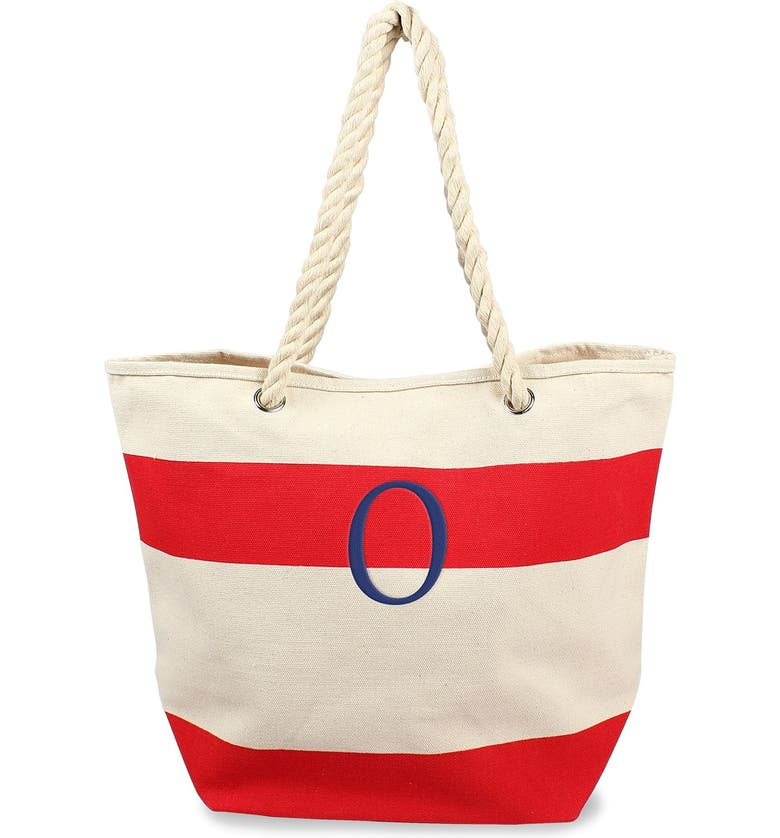 CATHY'S CONCEPTS Monogram Stripe Canvas Tote, Main, color, RED - O