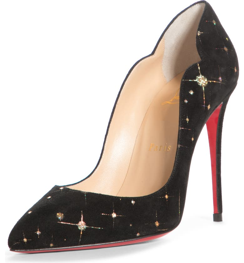 CHRISTIAN LOUBOUTIN Hot Chick Metallic Scalloped Pointed Toe Pump, Main, color, 001