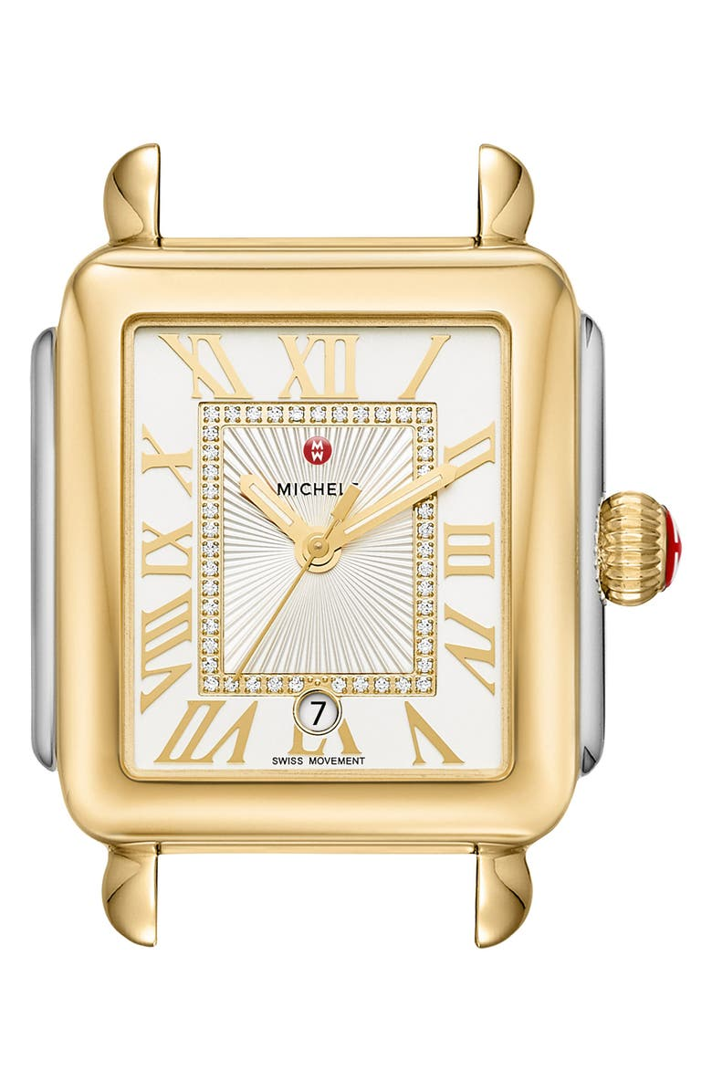 MICHELE Deco Madison Diamond Dial Watch Head, 33mm x 35mm, Main, color, GOLD/ STAINLESS STEEL