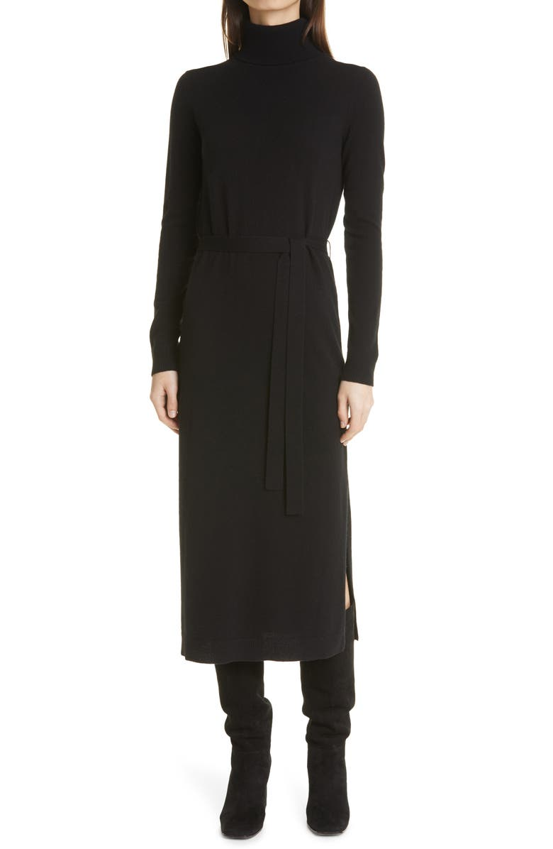 THEORY Turtleneck Long Sleeve Cashmere Sweater Dress, Main, color, BLACK