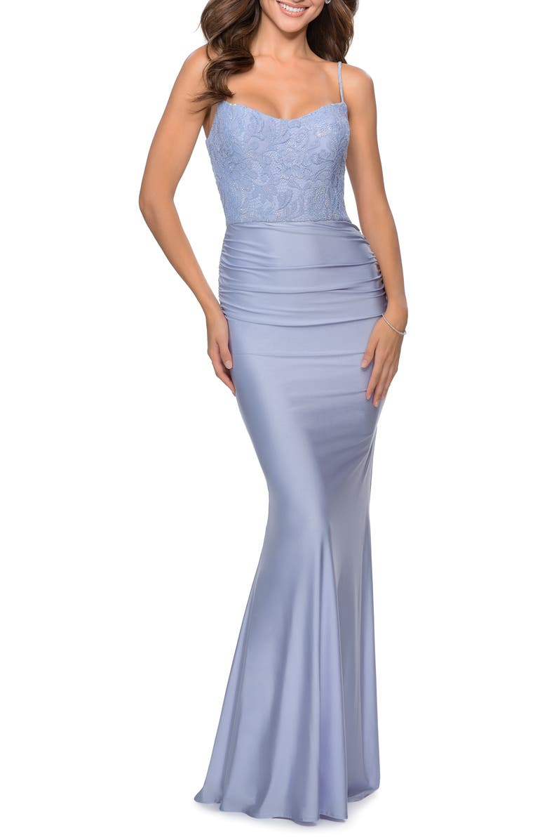 LA FEMME Lace & Jersey Trumpet Gown, Main, color, LIGHT PERIWINKLE
