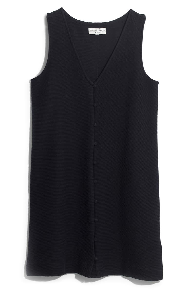 MADEWELL Texture & Thread Button Front Tank Dress, Main, color, 001