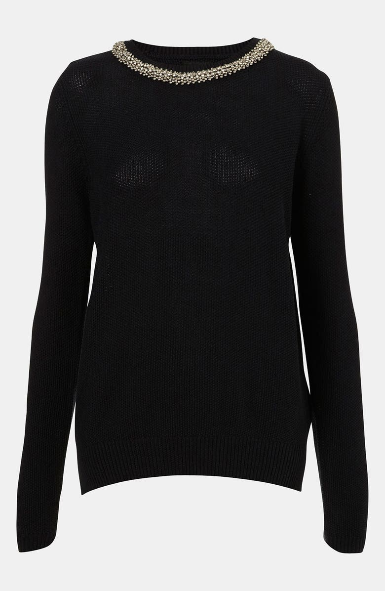 TOPSHOP Embellished Collar Sweater, Main, color, NAVY