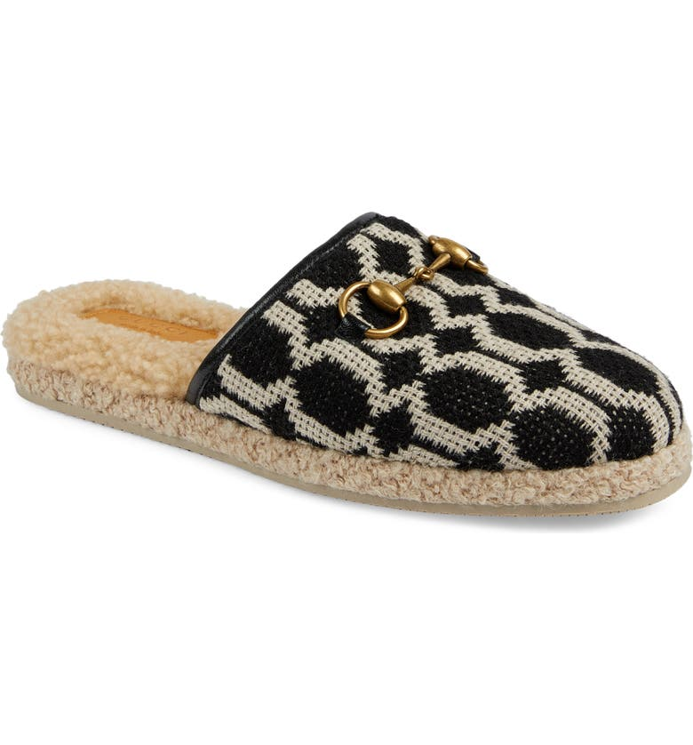 GUCCI Fria Faux Shearling Lined Mule, Main, color, 001