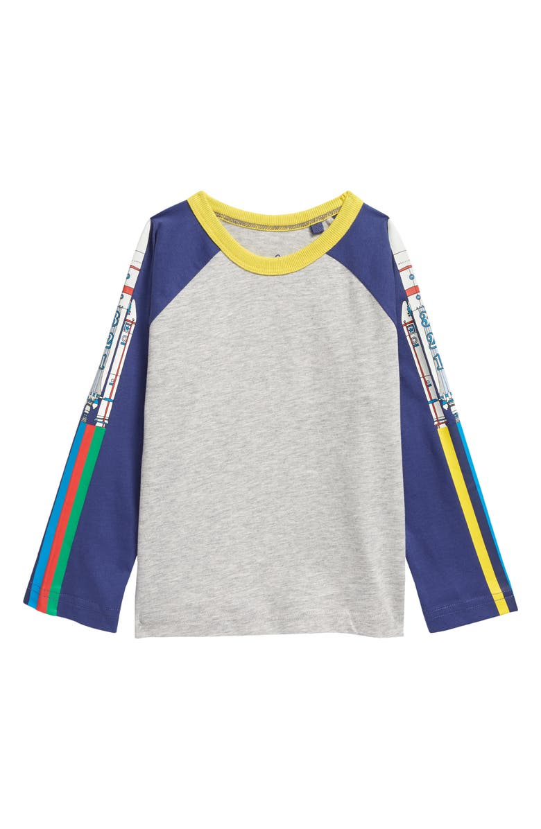 MINI BODEN Kids' Space Glow in the Dark T-Shirt, Main, color, MID GREY RAINBOW ROCKETS