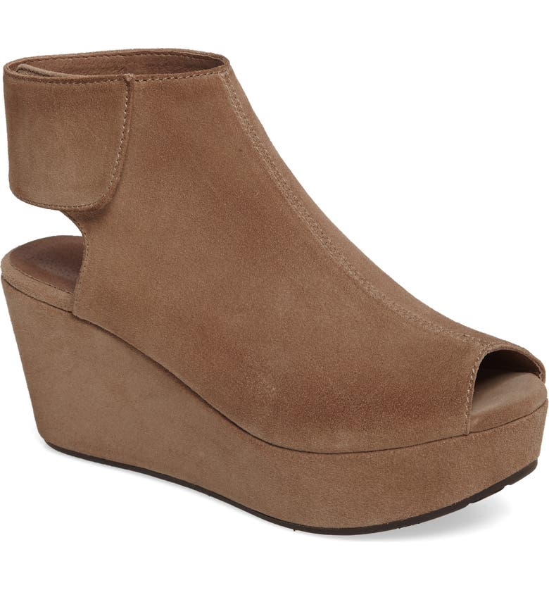 CHOCOLAT BLU Cutout Wedge Sandal, Main, color, TAUPE SUEDE